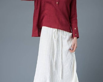 one size linen top,Red Linen Top,Long Sleeved top, linen top women,linen oversize top  (C842)