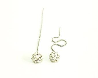 Long chain silver drop earings, Rhinestone Earrings, 8mm Crystal Shambhala ball Beads, Fireball earrings, Diamond Anti-allergic Earring