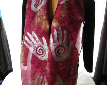 Hand Dyed Burgundy & Brown Silk Scarf.  Red Pink Brown  and White Spiral Hand Silk Scarf. 8x72 inch Long Slim Scarf. Gift Idea.