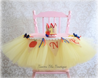 Snow White Inspired High Chair Tutu. Custom Birthday Party Decoration, Tulle Table Skirt. Cake Smash First 1st