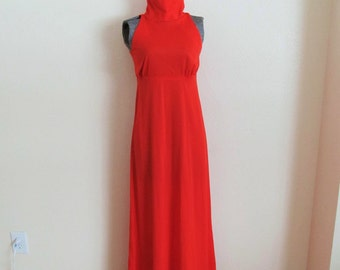 1970s bright red maxi dress, goddess dress, with cut out back and high neck, S