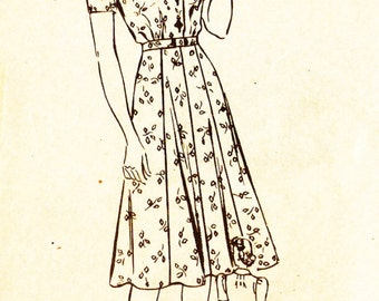 Mail Order 3170 Misses' Vintage 1940s Shirtwaist Dress Sewing Pattern