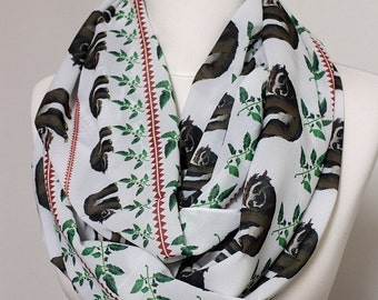 Sloth Scarf Infinity Scarf White Circle Scarf Loop Scarf Scarves Shawls Spring Fall Winter Summer Fashion Christmas Gift For Her