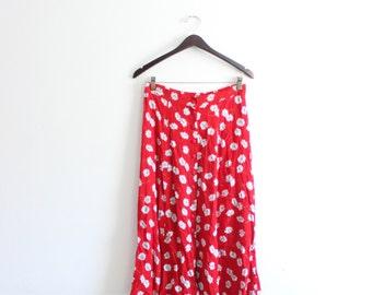 Red Daisy 90s Maxi Skirt