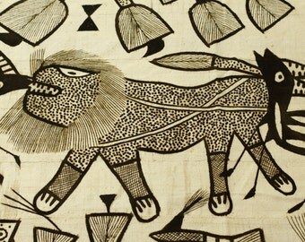 Large Korhogo Mud Cloth Ethinic or Tribal Painting - Vintage African Art - Hand Painted Fabric