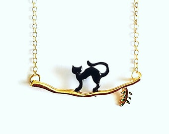 Halloween Jewelry, Cat Necklace, Cat Jewelry, Black Cat Necklace, Gold Chain, Gifts For Her, Gift Ideas, Fall Jewelry, Holiday Jewelry