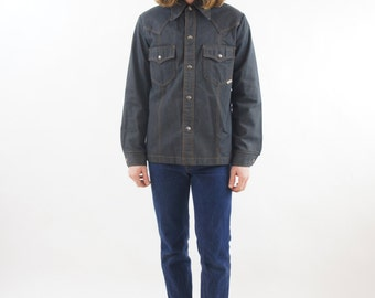 Men's Dark Heavy Sear's Vintage Denim Jean Jacket Snap Button Down Shirt Size Medium Large