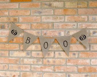 Boo Halloween banner, Pumpkin Halloween decorations, Pumpkin Boo banner, Halloween burlap party decor, Halloween bunting, Halloween garland