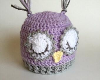 Crochet owl hat - owl hat - baby owl hat - sleepy owl hat - crochet sleepy owl hat - knit owl hat - owl winter hat - crochet hat kids