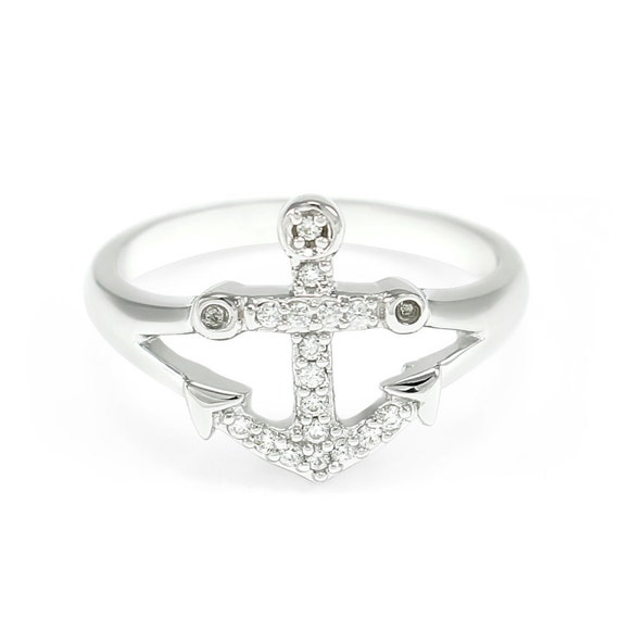 sterling silver anchor ring with simulated diamonds anchor