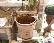 Metallic miniature rusty bucket, Pink chic, Accessory for French Shabby Dollhouse, Greenhouse, Garden, in 1:12th scale