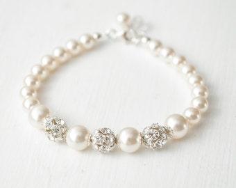 Bridal Bracelet, Crystal Pearl Wedding Bracelet, Pearl Bridal Jewelry, Wedding Jewellery