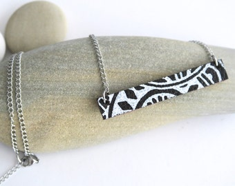 Tribal Bar Necklace - Leather Pendant, Stainless Steel Chain Necklace