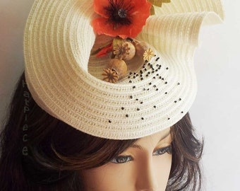 Ivory percher hat with red Poppy (OOAK)