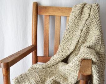 "Wool Crochet Blanket, Acrylic Blend Throw, Reversible Chunky Blanket, Housewarming Gift, Wedding Gift, Lap Blanket, ""Fairfield Blanket"""