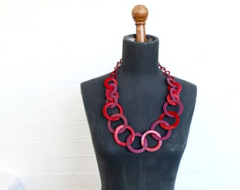 Leather statement necklace / red / plum / 1980s vintage jewellery