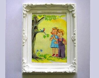 1947 Children's book Margaret Clemens My Prayer Book artist Esther Friend glazed frame Nursery childs room cute boy girl robin (X)