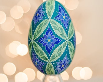 Blue Flowers Green Vines Pysanky Goose Egg -- Hand dyed Ukrainian Easter Egg