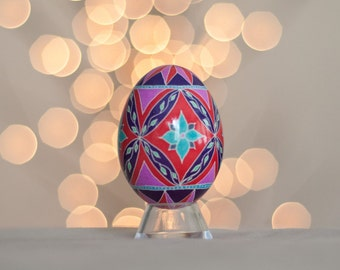 Red and Blue Flower and Star Pysanky egg -- Hand dyed Ukrainian Easter Egg