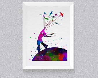 Little Prince Le Petit Prince Watercolor Print Wall Art House Warming Watercolor Art, Children Room Art, Bedroom Decor, Mothers Day Gift