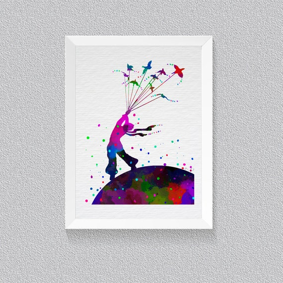 Little prince le petit prince watercolor print wall art house Decoration le petit prince