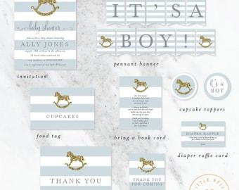 Boy Baby Shower Package / Rocking Horse Baby Shower Invite / Blue / Gold Glitter