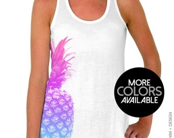 Pineapple Tank Top - Pineapple Flowy Tank Top - Summer Tank Top, Summer Shirt, Pineapple Shirt, Beach Shirt, Beach Tank Top, Pineapple Top
