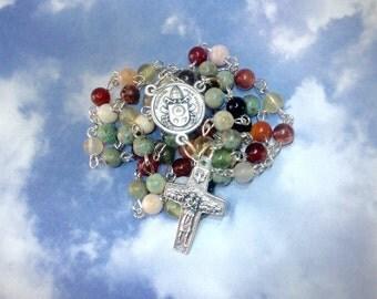Pope Francis Catholic Rosary Handmade Traditional Five Decade Mixed Gemstone Rosary
