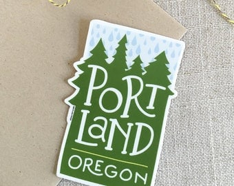 Portland Oregon Rain Vinyl Sticker / Modern Illustrated Portland Sticker / Pacific Northwest Sticker / Hand Lettering / Cool Sticker