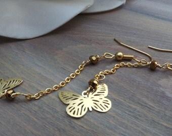 Butterfly earrings. Filigree butterfly dangle earrings. Gold dangle earrings.Silver dangle earrings. Gold fill  dangle earrings earrings.