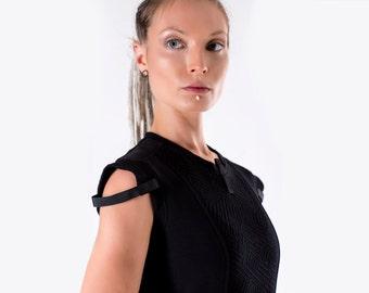 SALE! 15% OFF Black military vest industrial shirt avant garde - GT woman Q5