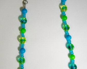 Green and Aqua Glass Bead Necklace