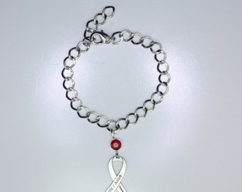 HIV AIDS Awareness Ribbon Bracelet - Human Immunodeficiency Virus, Acquired Immunodeficiency Syndrome Support Jewelry