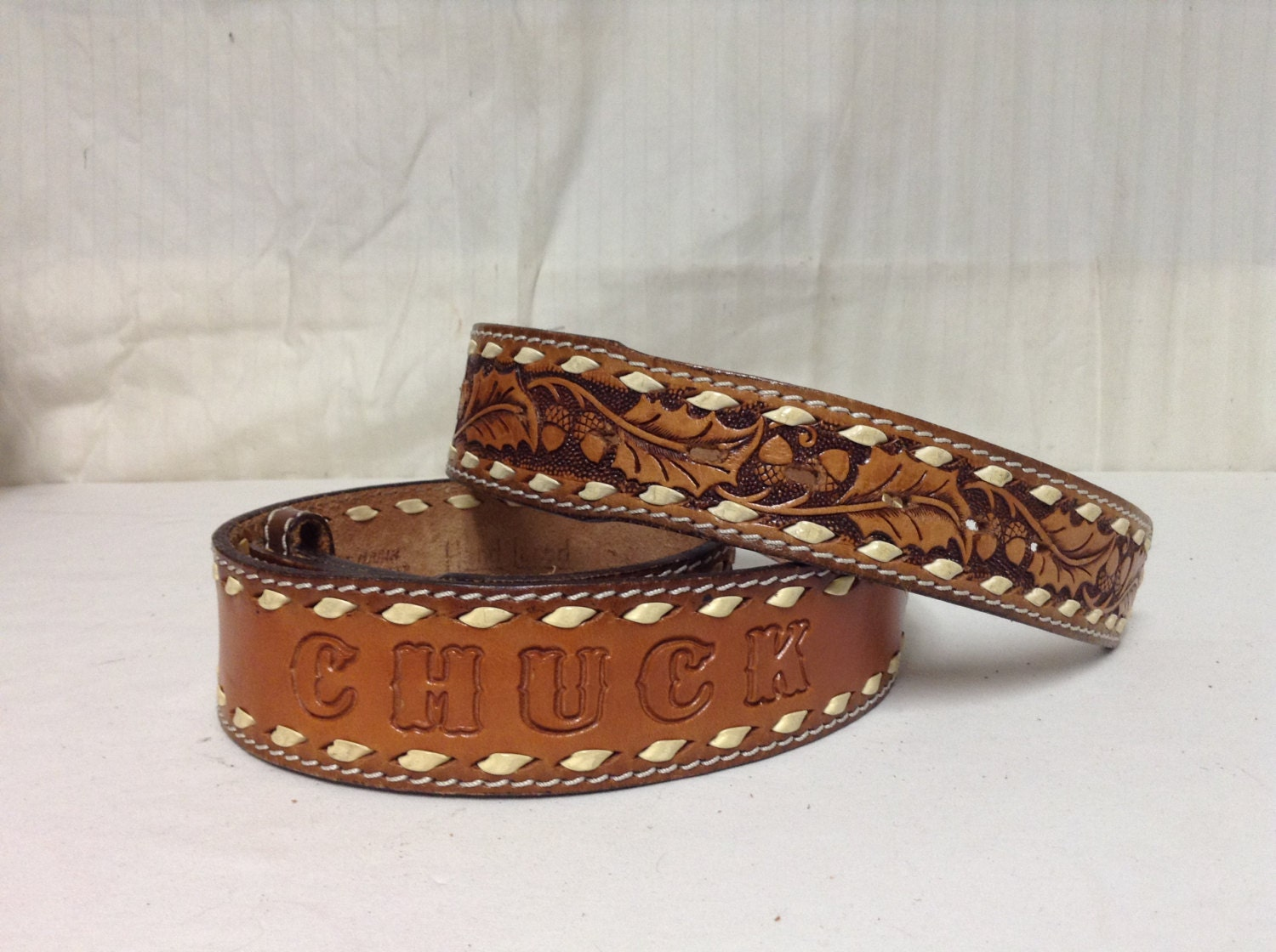 free ship tooled leather belt name chuck leaves acorns w o