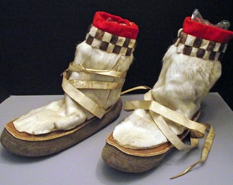 Antique Pair of Inuit, Inupiaq, Yup'ik, Eskimo Alaska Native Boots MukLuks. These are Museum Quality!!