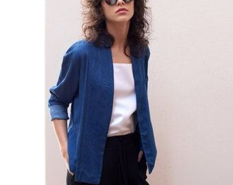 20% off Blue spring jacket women,light jacket, blue jacket,denim jacket women, cropped jacket,cotton jacket, womens blazer