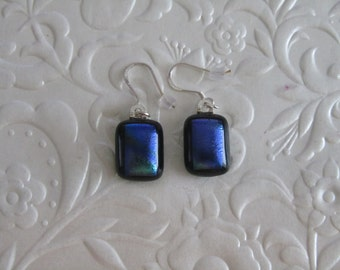 "Fused Dichroic Earrings - Dichroic Earrings - Glass Jewelry - Measures - 0.25"" x 7/8"" or 1mm x 1.5mm."