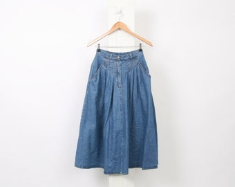 90s Blue DENIM Womens S Small Au 6 US 2 Vintage High Waisted Button Down Midi Maxi Chambray Cotton Full Skirt