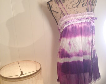 Hand Dyed Puple Bow Baby Doll Slip