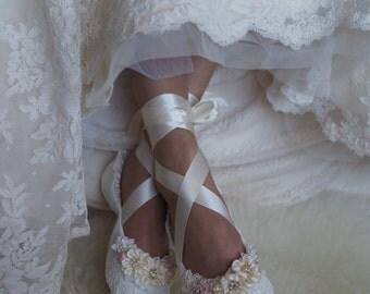 Blush Princess Bridal Ballet Shoes, Blush Rose Ballerina Wedding Slippers, Lace Ballet Bridal Flats, Lace Wedding Shoes, Custom made Shoes