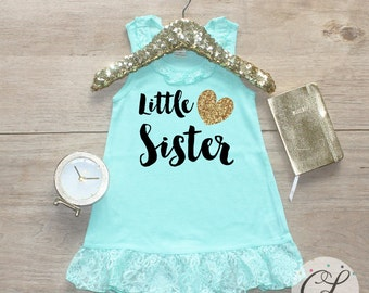 Little Sister Dress / Baby Girl Clothes Little Sister Outfit Matching Big Sister Sibling Set Toddler Pregnancy Announcement Baby Shower 02