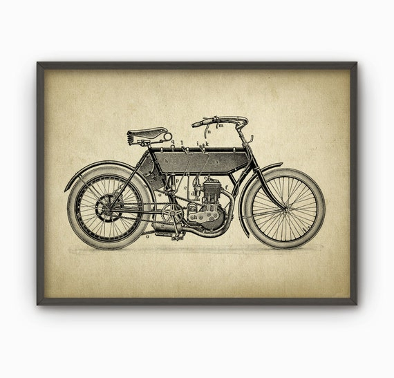 Vintage motorcycle print motorcycle home decor for Motorcycle decorations home