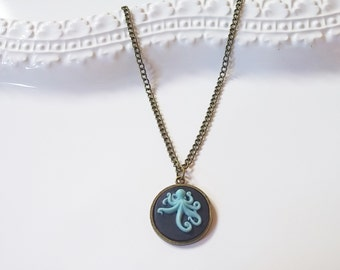 Octopus Blue Black Cameo Necklace