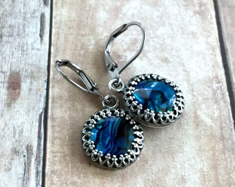 Blue Abalone Shell Earrings, Surgical Stainless Steel Leverbacks, Hand Made Paua Shell Jewelry, Seashells in Antique Silver Bezel