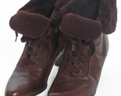 Vintage Brown Leather Heeled Ankle Boots 7  www.brickvintage.com
