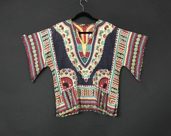 70's African Dashiki Tunic Top with Flared Sleeve