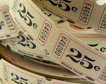 Vintage 25 Cent Tickets. Raffle Tickets. Vintage Ephemera. Junk Journal Paper. Scrapbook Ephemera. Christmas Journal. Vintage Christmas.