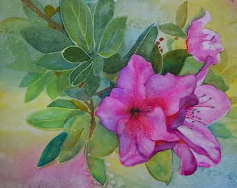 Original fine art painting floral watercolor painting original pink azaleas floral watercolor flower art spring flowers green framed artwork