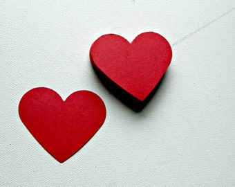 Large Heart paper die cut: in sets of 12/24/48 in your choice of over 20 colors, 2 x 2.5 inch cardstock embellishments for DIY crafting