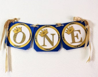 Royal Blue & Gold Prince Theme One High Chair Banner